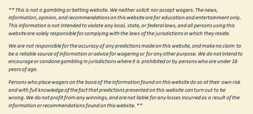 Gambling disclaimer